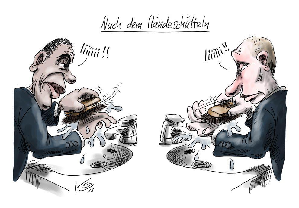 Obama und Putin schütteln sich die Hände