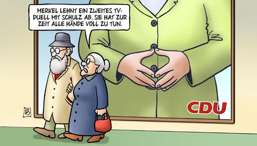 Kein TV-Duell - Merkel hat alle Hände voll zu tun