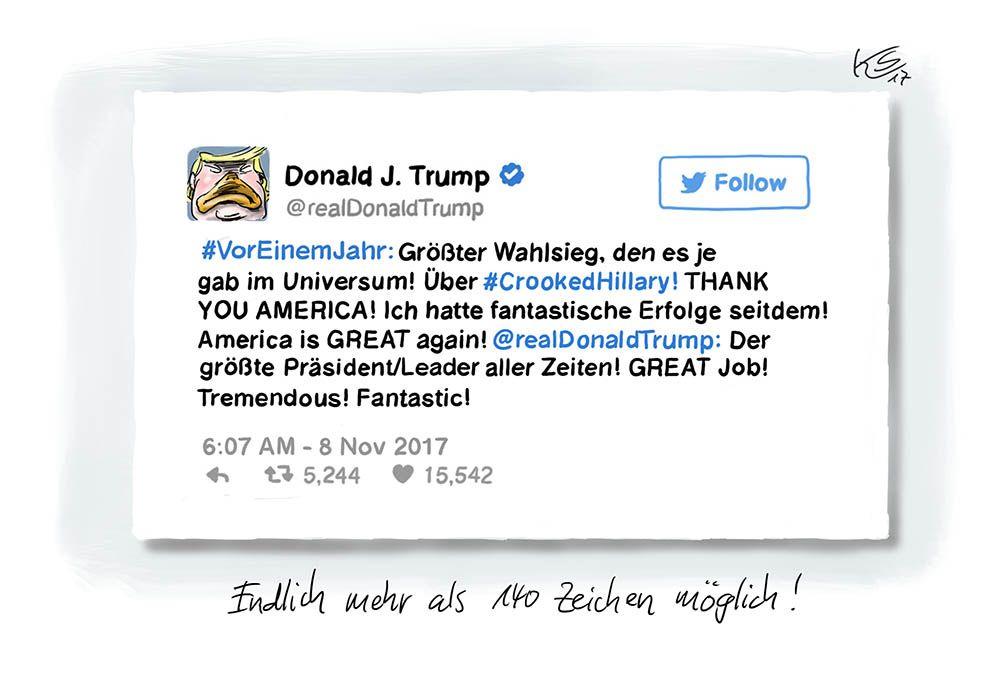 Mehr Zeichen auf Twitter für Donald Trump